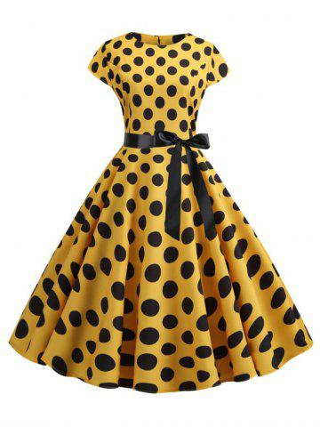 Polka Dot Belted Prom Dress