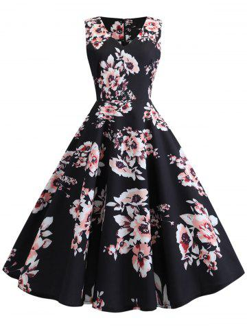Sleeveless Vintage Floral Dress