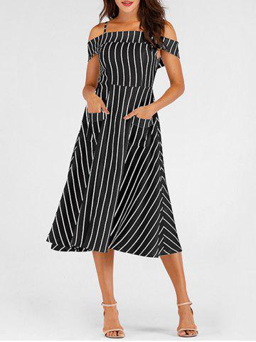 Pockets Striped Mid Calf Cami Dress