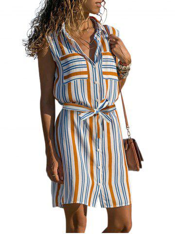 Striped Sleeveless Pockets Belted Dress
