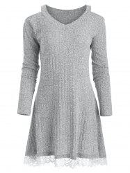 Knit Lace Panel Cold Shoulder Dress -