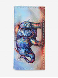 Elephant Pattern Square Leather Wallet -
