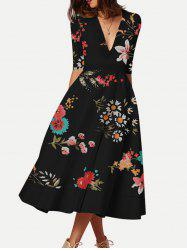 Floral Print Half Sleeves Flared Dress -