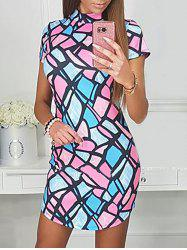High Neck Geometric Bodycon Dress -