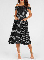 Pockets Striped Mid Calf Cami Dress -