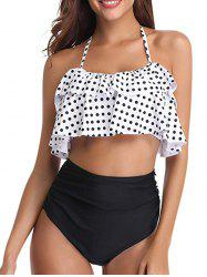 Knotted Back Polka Dot Tiered Tankini Set -