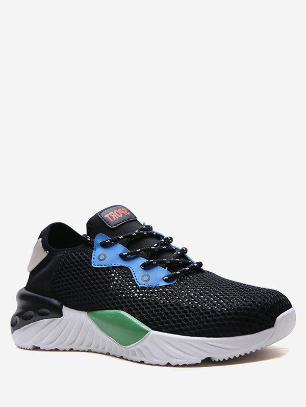 Store Lace-up Design Mesh Trim Sport Sneakers