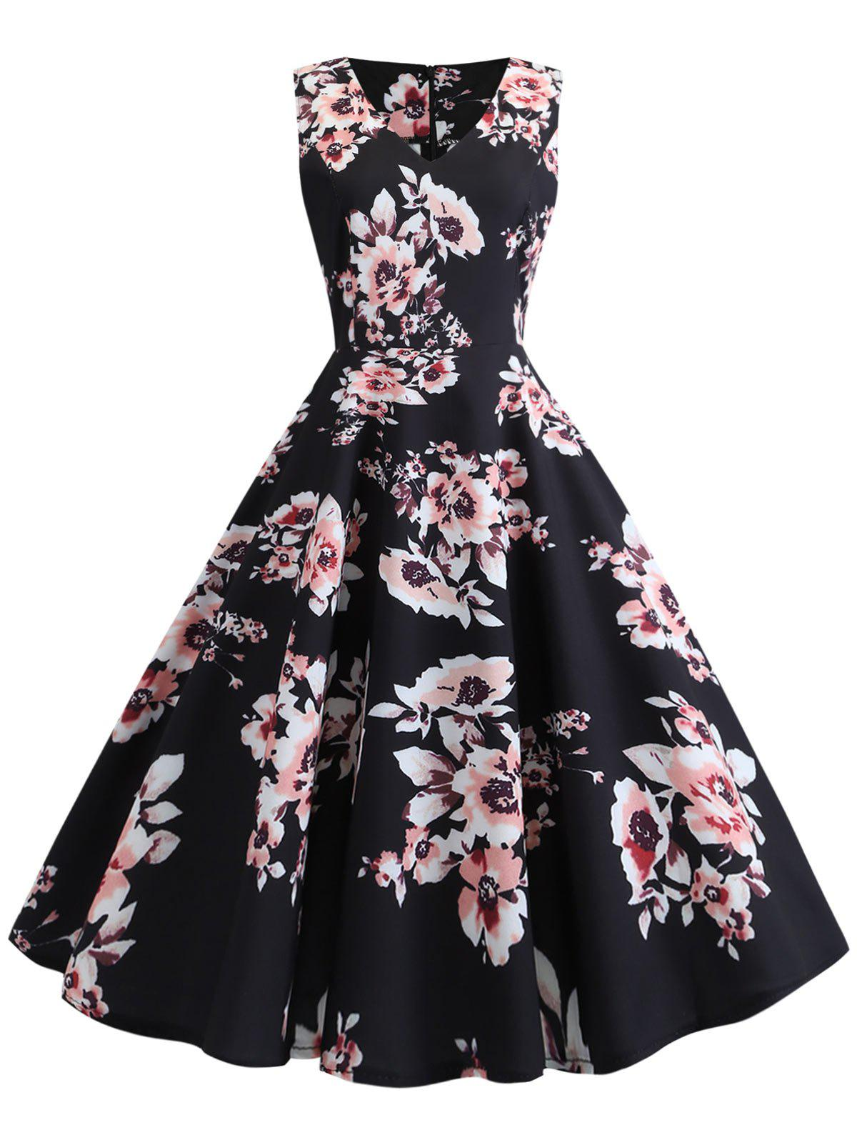 Outfits Sleeveless Vintage Floral Dress