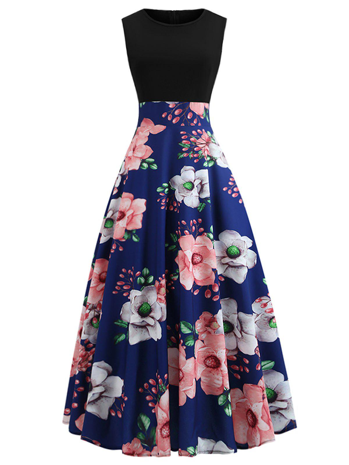 Sleeveless Floral Ankle Length Dress