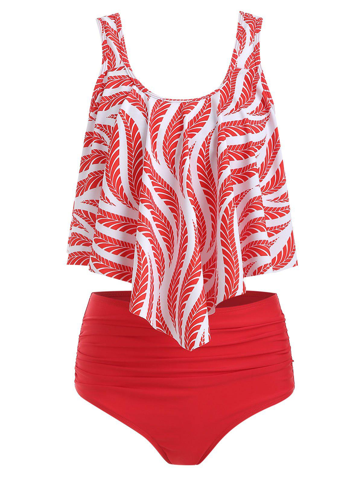 Chic Plant Print Ruched Flounce Tankini Set