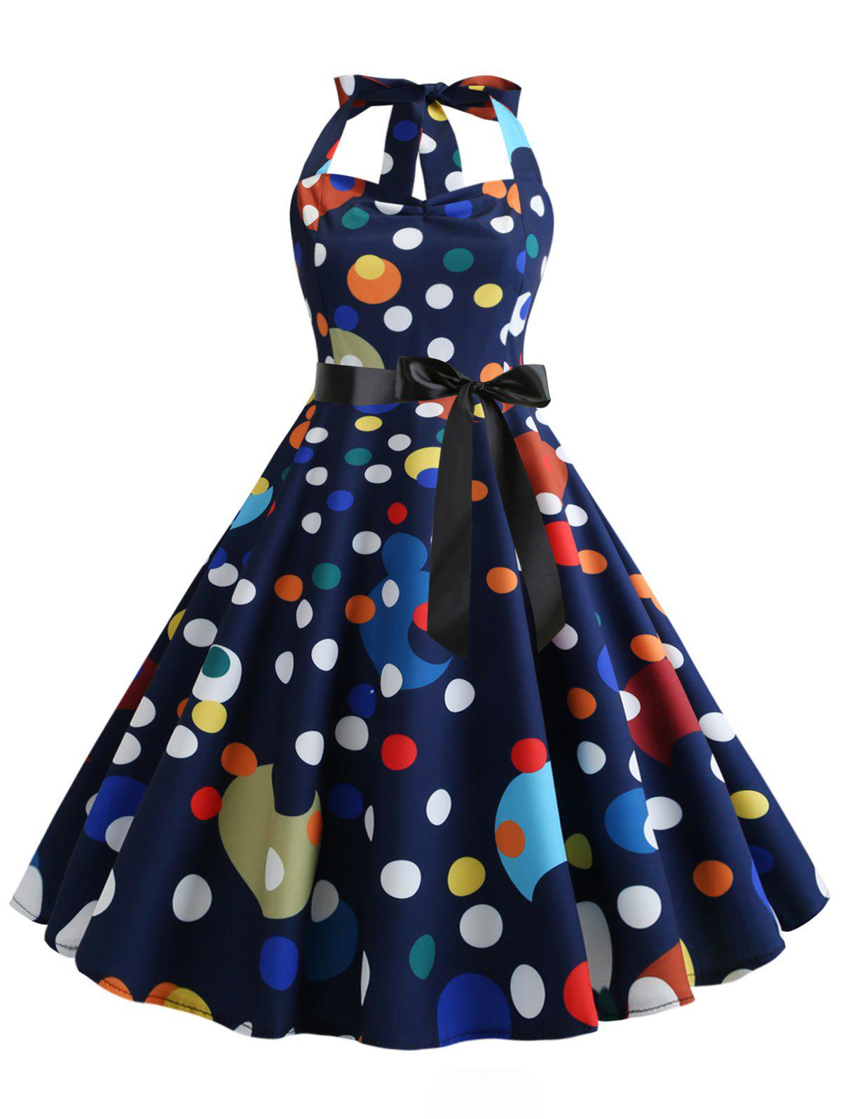 Sale Polka Dot Halter Shirred Party Dress