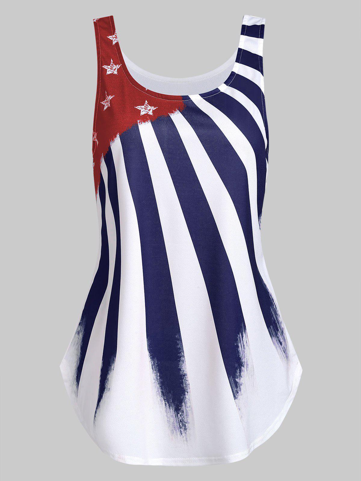 Affordable Flare American Flag Print Tank Top