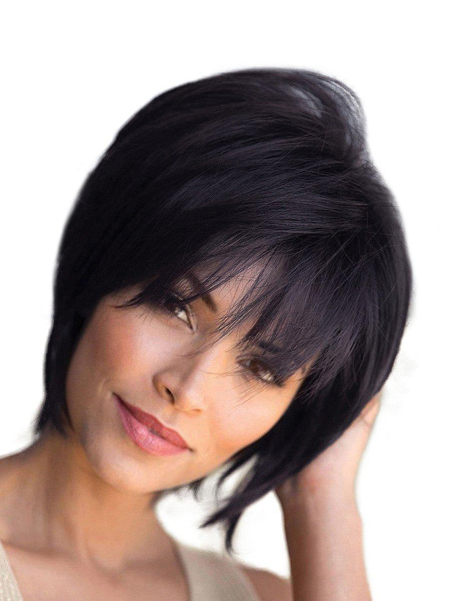 Affordable Free Part Short Straight Fluffy Human Hair Wig