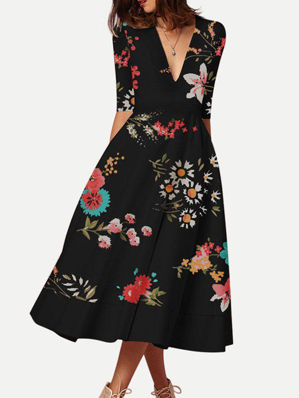 Hot Floral Print Half Sleeves Flared Dress
