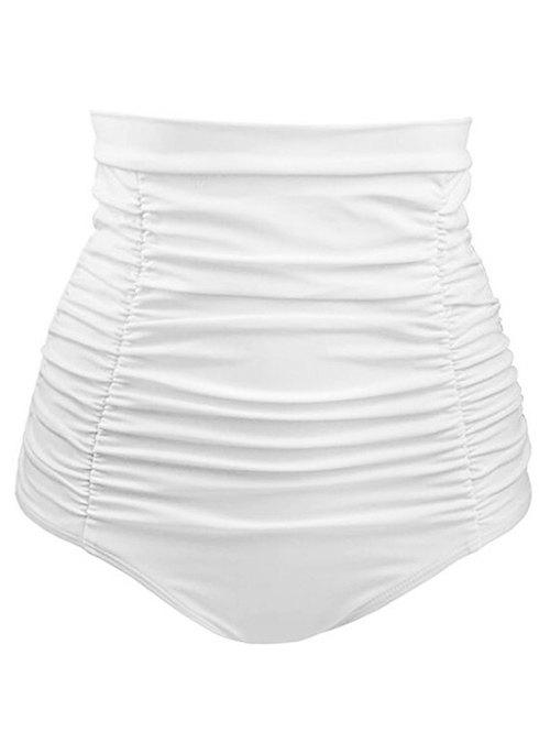 Outfit Solid Color Ruched Swim Bottoms