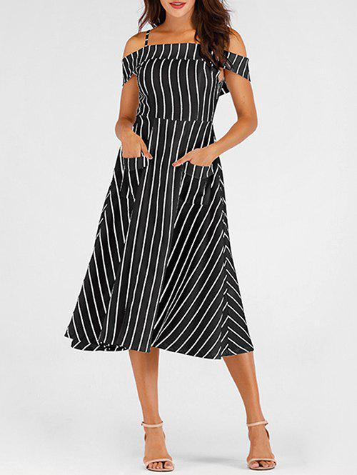 Latest Pockets Striped Mid Calf Cami Dress
