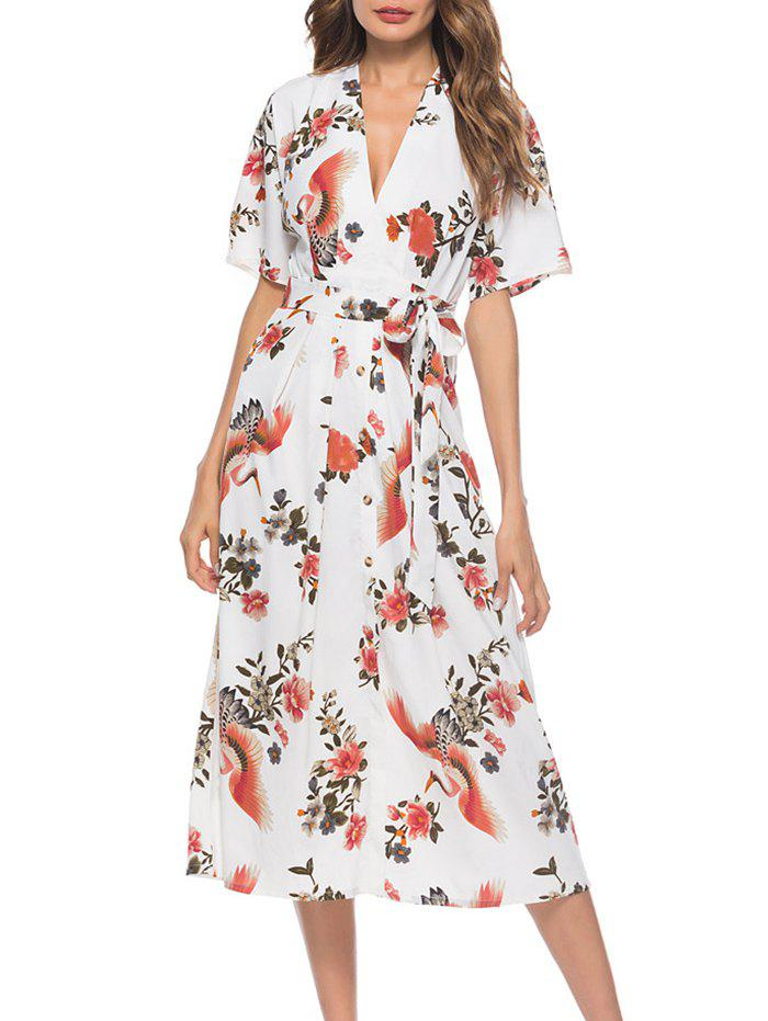 Outfits Floral Crane Belted Midi Dress