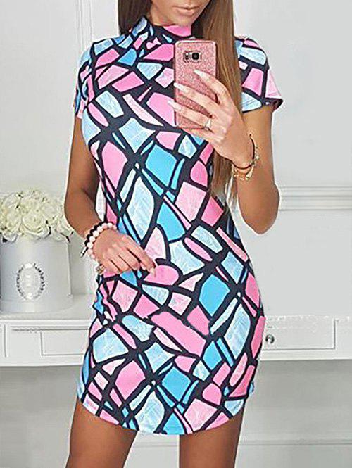 Discount High Neck Geometric Bodycon Dress