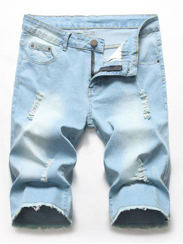 Fringed Design Ripped Jeans Shorts