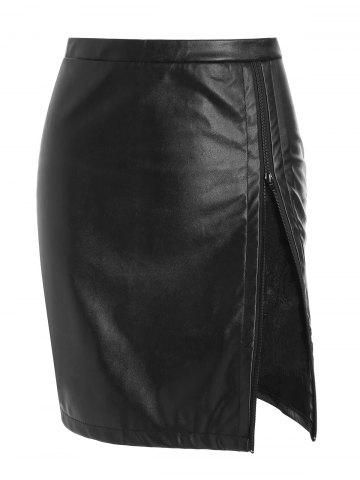 Lace Panel Faux Leather Zip Skirt