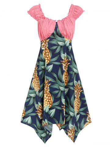 Pineapple Asymmetric Casual Lettuce Dress