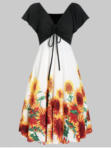 A Line Sunflower Casual Contrast Dress