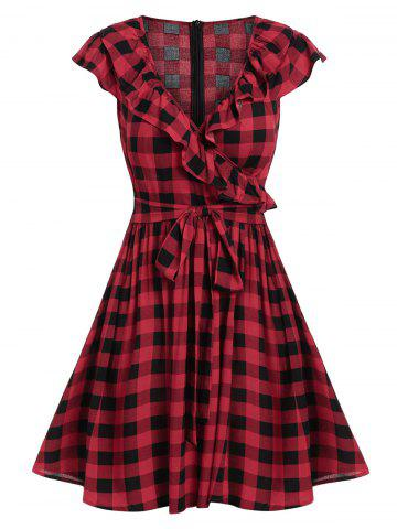 Surplice Checked Plunge A Line Dress