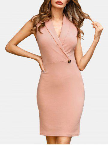 Shawl Collar Sleeveless Sheath Dress