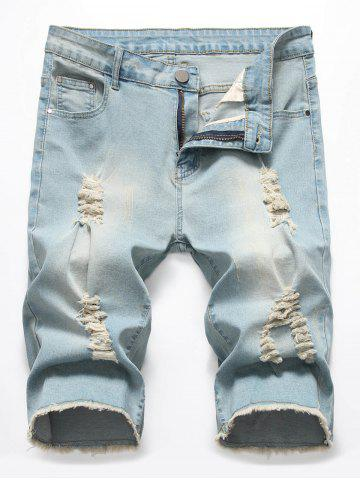 Zipper Fly Casual Ripped Jeans Shorts