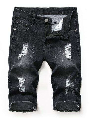 Fringed Decoration Ripped Jeans Shorts