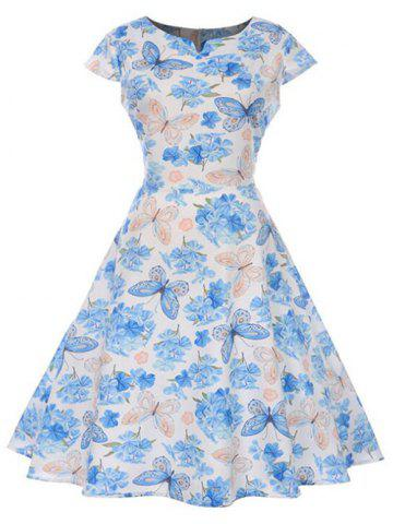 Butterfly Floral Print Notched Flare Dress