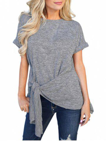 Cuffed Sleeves Knotted Space Dye Tee