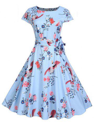 Round Neck Floral Print Belted Flare Dress