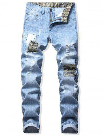 Patchworks Decoration Casual Ripped Jeans