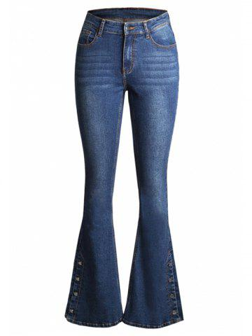 Pockets Buttons Bootcut Jeans