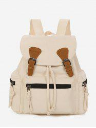 Buckle Drawstring Canvas Backpack -