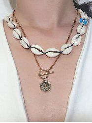 Asymmetrical Shell Coin Layered Necklace -