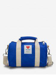Heart Print Canvas Cylinder Bag -
