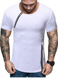 Zipper Decoration Casual Short Sleeves T-shirt -
