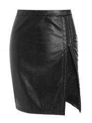 Lace Panel Faux Leather Zip Skirt -