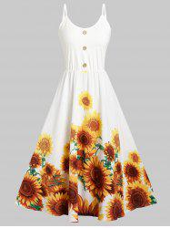 Cami Sunflower Print Button Dress -