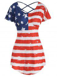 American Flag Butterfly Sleeve T-shirt -