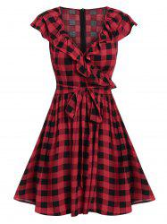 Surplice Checked Plunge A Line Dress -