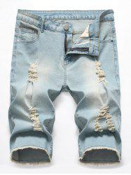 Zipper Fly Casual Ripped Jeans Shorts -