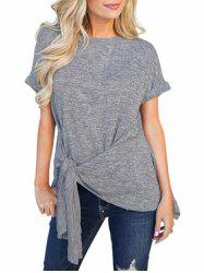 Cuffed Sleeves Knotted Space Dye Tee -