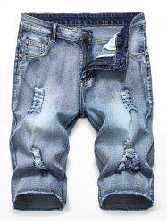 Zipper Fly Design Ripped Jeans Shorts -