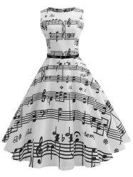 Musical Notes Sleeveless Vintage Belted Dress -