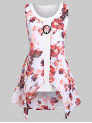 Plus Size Floral Overlay Asymmetrical Tank Top -
