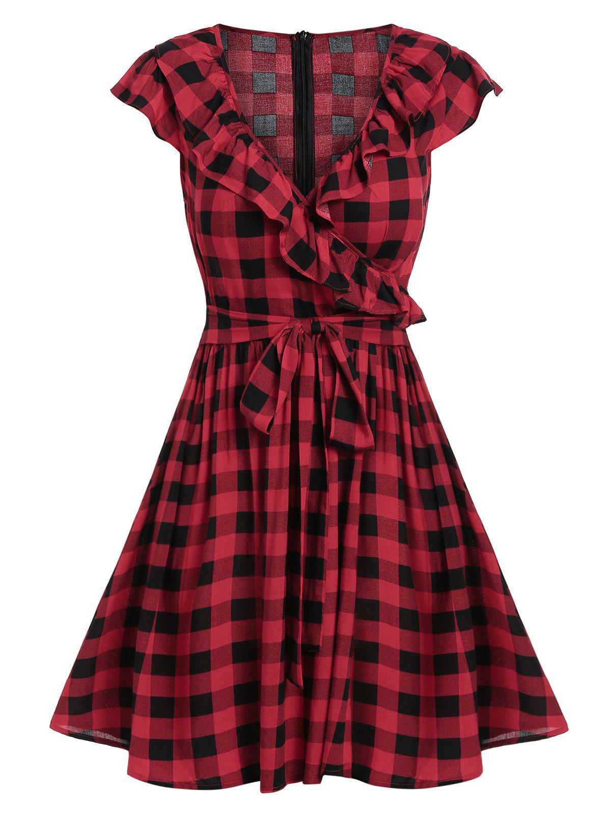 Trendy Surplice Checked Plunge A Line Dress