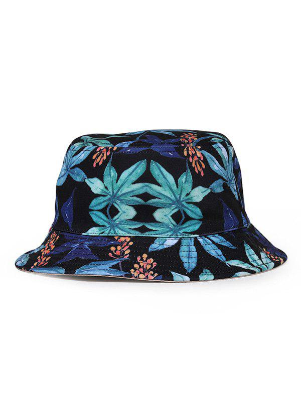 Double Faced Printed Leaf Bucket Hat